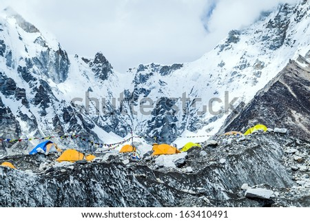 Mount Everest Base Camp landscape in Himalaya Mountains in Nepal at 5350m a.s.l on Khumbu glacier camping site - stock photo