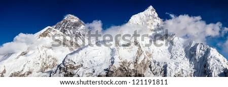 Mount Everest, Changtse, Nuptse in Himalaya - stock photo