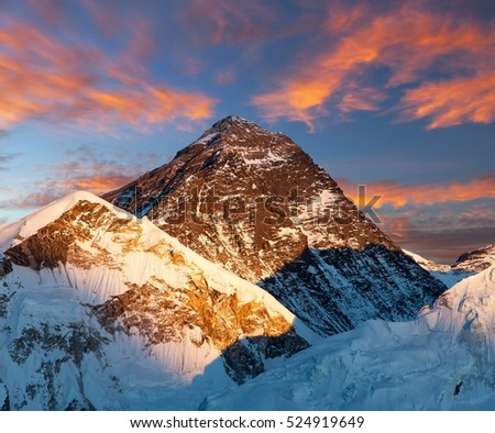 Mount Everest, Evening colored view of Mount Everest from Kala Patthar, Khumbu valley, Solukhumbu, Mount Everest area, Sagarmatha national park, Nepal
