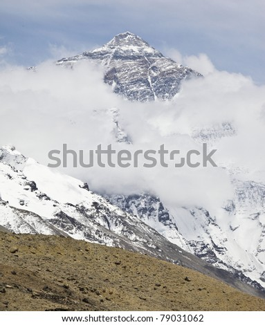 Mount Everest in the northwest of china - stock photo