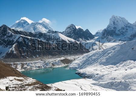 Mount Everest, Lhotse, and Gokyo Lake,  Himalaya, Nepal - stock photo