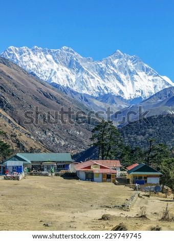Mount Everest (8848 m) and Lhotse (8511 m) (view from Tengboche monastery) - Nepal, Himalayas - stock photo