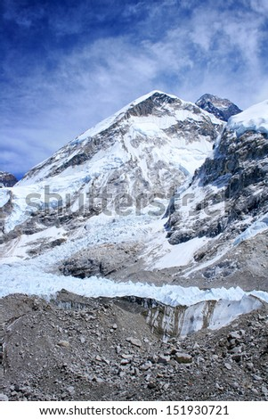 Mount Everest (8848m) as seen from Khumbu Valley, Himalayas, Nepal - stock photo