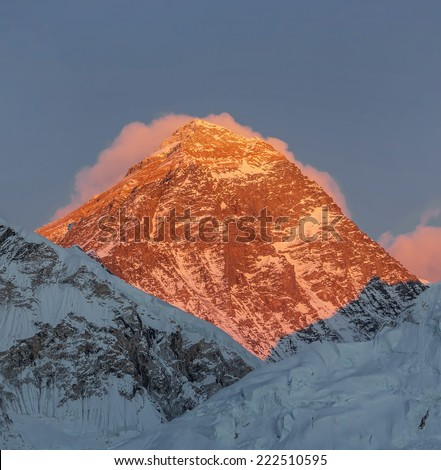 Mount Everest (8848 m) at sunset (view from Kala Patthar) - Everest region, Nepal, Himalayas - stock photo