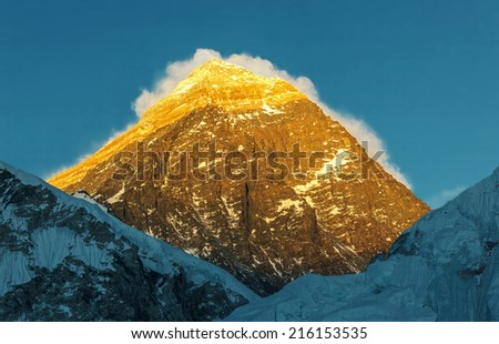 Mount Everest (8848 m), view from slope of Kala Patthar - Nepal, Himalayas - stock photo