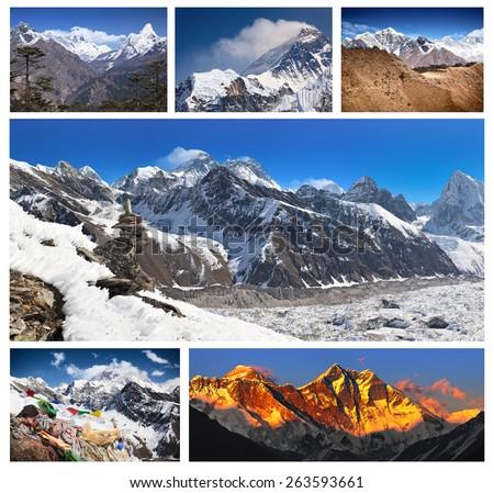 Mount Everest (Nepal: Sagarmatha,Tibet: Chomolungma) - the world's highest mountain (8,848 m., Solukhumbu, Sagarmatha National Park, Nepal). All views were taken from side of Namche and Gokyo Valley - stock photo
