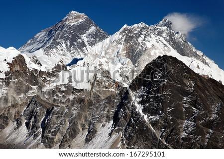 Mount Everest, Nuptse and Lhotse from Gokyo Ri, Nepal Himalaya - stock photo