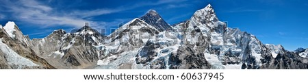 Mount Everest panoramic photo was taken from the top of Kala Pattar - stock photo