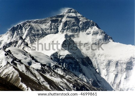 Mount Everest, the highest in the world, 8850m. North face. - stock photo