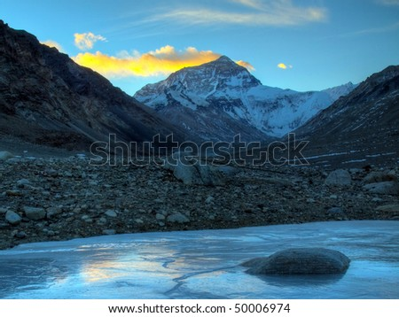 Mount everest viewd from the BC in Tibet - stock photo