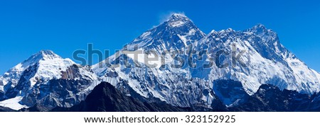 Mount Everest with Lhotse, Nuptse and Pumori - stock photo