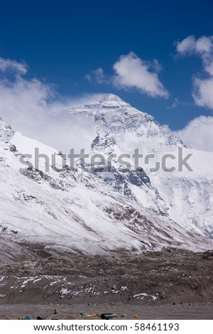 mount everest with snow covered in summer - stock photo