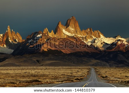 Mount Fitz Roy at sunrise. Los Glaciares National Park, Patagonia, Argentina - stock photo