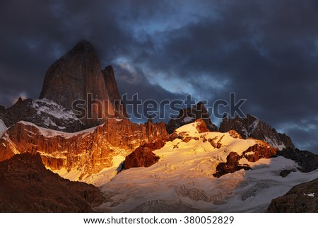 Mount Fitz Roy at sunrise, Patagonia, Argentina - stock photo
