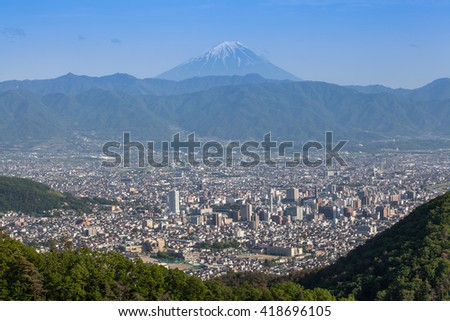 Mount Fuji and Kofu city in spring season