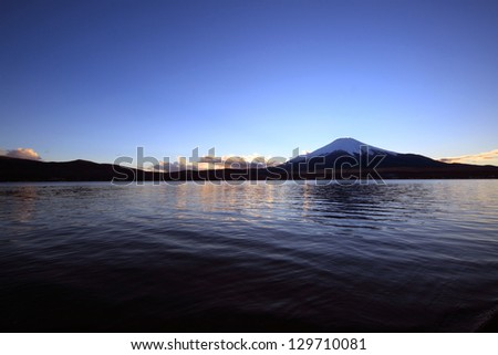 Mount Fuji and Lake Yamanaka before the daybreak. - stock photo