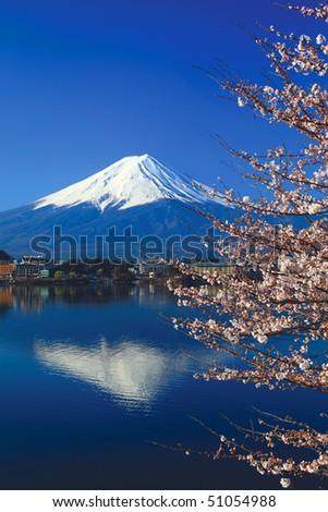 Mount Fuji and Sakura or Cherry Blossoms at Lake Kawaguchi, Japan - stock photo