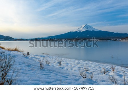 Mount Fuji at Kawaguchi Lake, after the heavy snow storms in the past 120 years in 19 February 2014 - stock photo