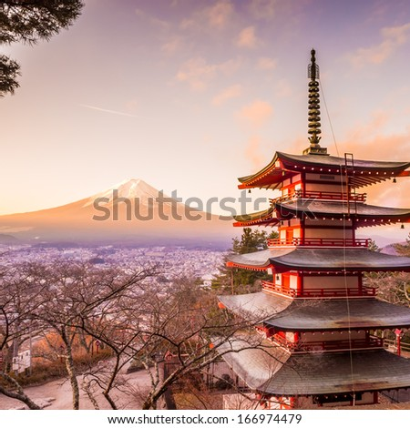 Mount Fuji at Kawakuchiko lake in Japan - stock photo