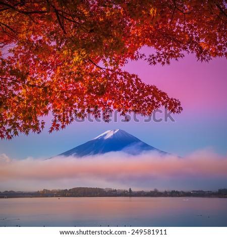 Mount Fuji at Kawakuchiko lake in Japan - stock photo