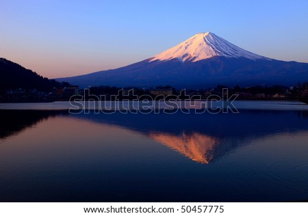 Mount Fuji, Lake Kawaguchi, Japan - stock photo