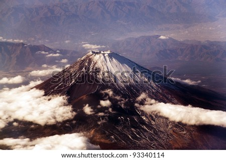 Mount Fuji, seen from above. - stock photo