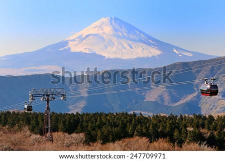 Mount Fuji seen from Owakudani, Hakone, Japan - stock photo