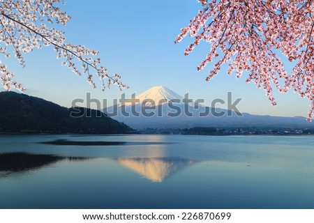 Mount Fuji with Cherry Blossom, view from Lake Kawaguchiko, Japan - stock photo