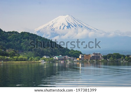 Mount Fuji with Reflection in the Lake, Kawaguchiko, Japan - stock photo