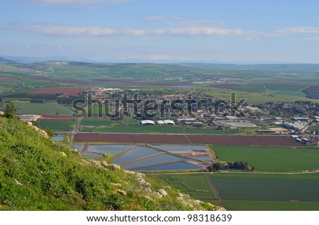 Mount Gilboa king Saul view from the top to the valley of Israel - stock photo