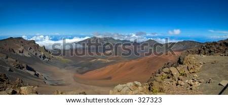 Mount Haleakala Crater, Maui (panorama) - stock photo
