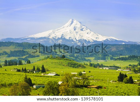 Mount hood and hood river valley - stock photo