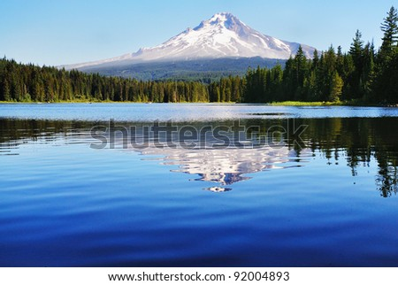Mount Hood and the trillium Lake - stock photo