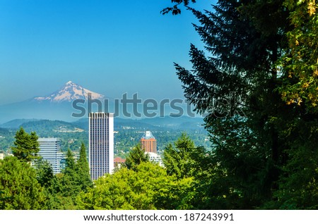 Mount Hood rising above downtown Portland, Oregon - stock photo