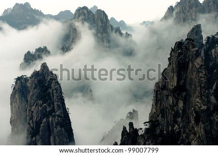 Mount Huang with Fog - stock photo
