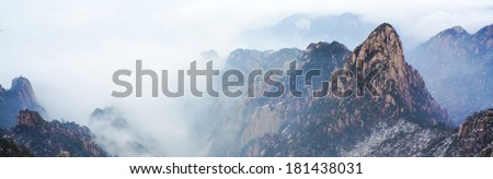 Mount Huangshan winter scenery, one of the most famous mountains in China - stock photo