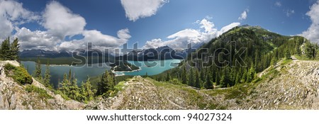 Mount Indefatigable Hike, Kananaskis, Alberta, Canada 360 degree view.  This is mostly a Steep Hike, some easy scrambling near the top, requires about 8-9 hours return to Car. 1 hour to this point. - stock photo