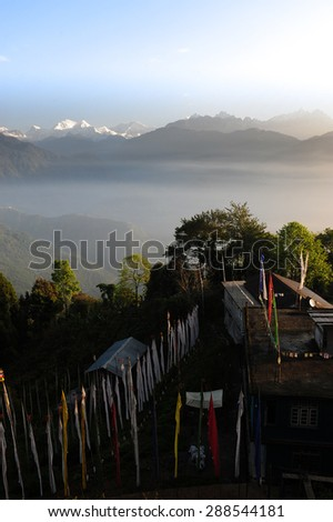 Mount Kanchenjunga in the morning view from local house in Pelling,Sikkim,India - stock photo