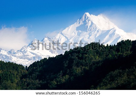 Mount Kanchenjunga range of the himalayas at Sikkim , India - stock photo