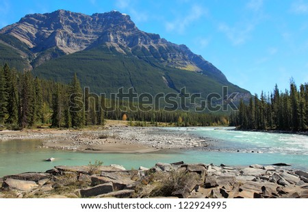 Mount Kerkeslin and the Athabaska River in Jasper National Park
