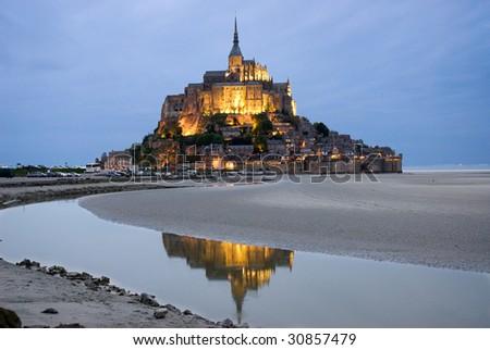 Mount Le Mont Saint Michel. Night view , Normandy, France - stock photo