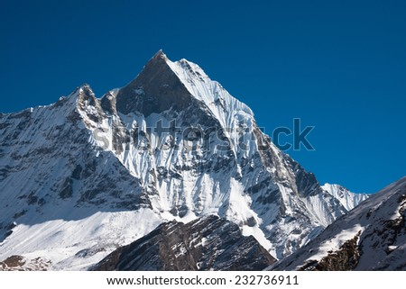 Mount Machhapuchchhre, Annapurna Himal, Nepal - stock photo