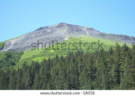 Mount Marathon, in Seward, Alaska. Mt. Marathon is home to the annual Mt. Marathon race, the 2nd oldest marathon in the United States, held every 4th of July. - stock photo