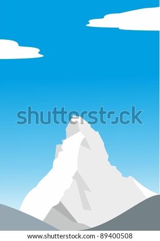 Mount Matterhorn (Cervino) - beautiful peak in the Alps - illustration - stock photo