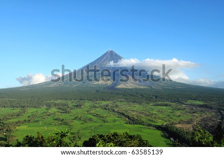 Mount Mayon Volcano in the province of Bicol, Philippines - stock photo
