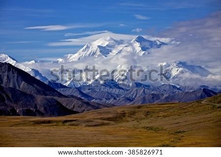 Mount McKinley in Denali National Park, Alska - stock photo