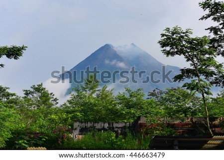 Mount Merapi, an active stratovolcano located on the border between Central Java and Yogyakarta, Indonesia - stock photo
