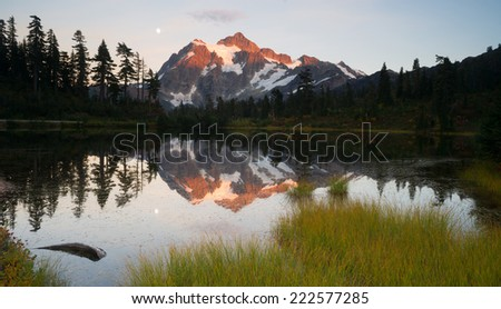 Mount Mt. Shuksan High Peak Picture Lake North Cascades - stock photo