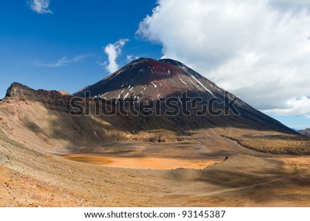 Mount Ngauruhoe, an active volcano in New Zealand, made from layers of lava and tephra. The youngest vent in the Tongariro volcanic complex on the Central Plateau of the North Island. - stock photo