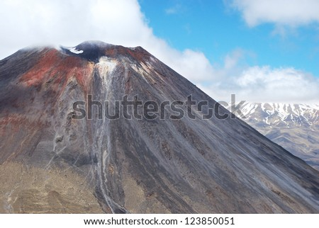 Mount Ngauruhoe and Mt. Ruapehu in the background, Tongariro national park, New Zealand - stock photo